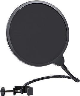 MAONO ポップガード ポップブロッカー ネット外直径14.7cm 二重張り ノイズ防止 卓上マイク用ポップフィルター 生放送 YOUTUBE ゲーム実況等の音声収録時の騒音防止に最適 ブラック