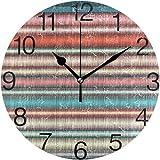 TABUE Silent Vintage Boho Stripes Design Dormitorio Reloj de Pared Redondo 9.8inch / 25cm