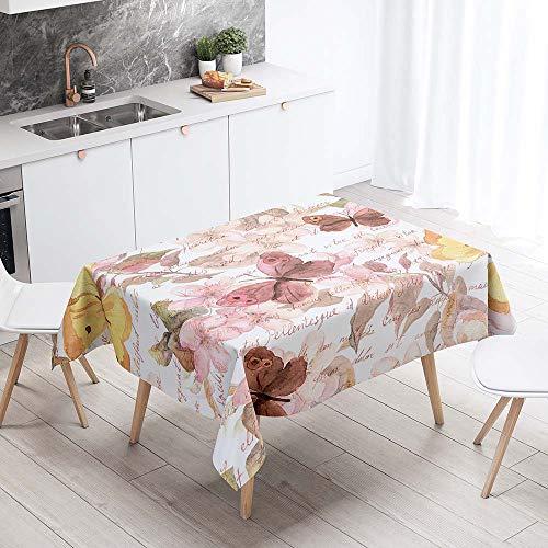 Enhome Manteles de Poliester Rectangular Mantel Rectangular Impermeable Antimanchas Nordico Moderno Mantel Decorativo para mesas rectangulares Cocina Comedor (Rosado,90x90cm)