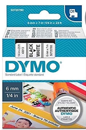 DYMO D1-Etiketten selbstklebend (schwarzer Druck auf weißem Untergrund, 6 mm x 7 m, für LabelManager-Etikettendrucker, authentisches Produkt)