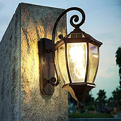 Rishx Outdoor Solar Wall Light Professional Waterproof Rust-Proof Aluminum Courtyard Sconce Windproof Transparent Glass Lampshade Sconce Villa Garden Lawn External Rain Protection Wall Lantern
