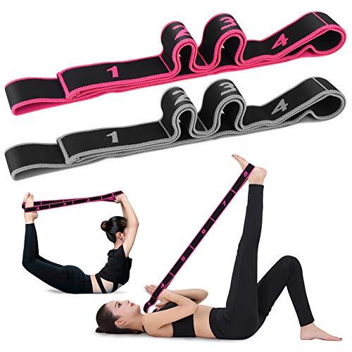 hicoosee Sangle de Yoga, Sangle d'étirement pour Yoga Ceinture Elastique Ajustable pour Pilates Entraînement Gymnastique Améliorez Votre Flexibilité Ainsi Que Votre Équilibre 2 Pièces