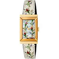 Gucci G-Frame Mother of Pearl Floral Dial Ladies Leather Watch