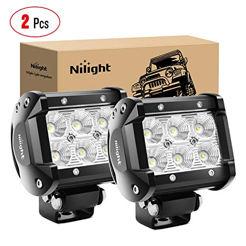 Nilight - 60001F-B Led Pods 2PCS 18W 1260LM Flood Led Off Road Lights Super Bright Driving Fog Light Boat Lights Driving Lights Led Work Light for Trucks, 2 Years Warranty