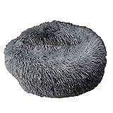 CAheadY Round Fluffy Small Pet Dogs Katzen Pl¨¹sch Weiches Kissen Nesting Cave Schlafsofa - Dunkelgrau S