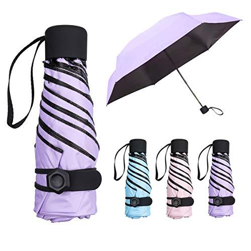 NASUM Regenschirm Mini, Taschenschirm,mehrere Schirmständer stärker,leicht klein und kompakt windsicher. Schirm für Reisen Order Business Geschenk für Freundin Kinder (lila)
