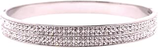 Bevilles Stainless Steel 6mm Pave Crystal Bangle