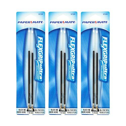 Paper Mate FlexGrip Elite & FlexGrip Ultra Ballpoint Pen Refills, Medium Point, Black Ink, Pack of 3