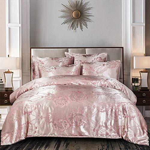 KINBEDY Luxury 3-Piece Satin/Sateen Silky Bed Sheet Set Bedding Collection,Summer Duvet Cover Sets Pink, Queen