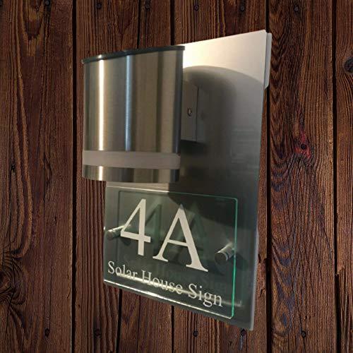 Be-Creative Placa para puerta de la casa moderna con placa de la parte trasera plateada