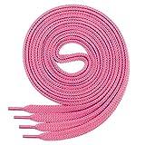 1paire de lacets de qualité en polyester Di Ficchiano-anti déchirure-plat- env. 7mm de large, 27couleurs, longueur 60-200cm - Rose - rose bonbon, 190 cm