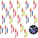 LED Glowing Slingshot Helicopter,20pcs Rocket Copters Toys, Kids Rocket Launchers Glow Supplies,Fun Outdoor Game Party Gift for Kids