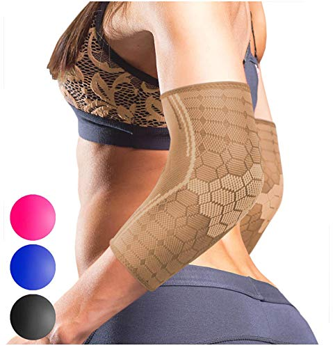 Sparthos Elbow Compression Sleeves (Pair) – Tendonitis Elbow Brace Golfer's Tennis Elbow Support for Men and Women – Arm Injury Recovery & Prevention Biceps Triceps Joint Pain Relief (Beige-M)