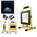 Hengda50W bleu Blanc Chaud Projecteur LED Portable Rechargeable Pour Camping, Garage, Terrasse, Jardin, Abri etc IP65