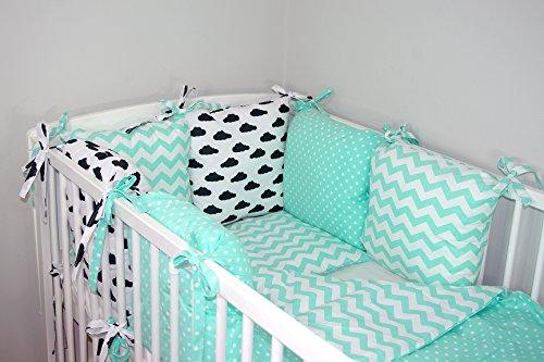 Baby's Comfort Parure de lit bébé ENSEMBLE DE 12 PIÈCES avec Tour de lit 6 coussins (24 couleurs) (s'adapte de matelas 120x60cm, 12a)