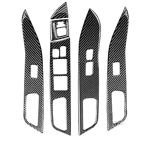 SAXTZDS Accesorios de Coche, Fibra de Carbono, Panel de elevación de Ventana, Pegatina, Interruptor, botón, Marco, Cubierta de Ajuste, Apto para Mitsubishi Lancer EVO X MR 2008-2015