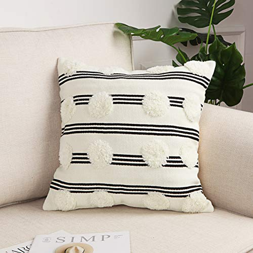 Sungea - Funda de cojín decorativo para cojín de 45 x 45 cm, diseño moderno de rayas, color blanco y negro