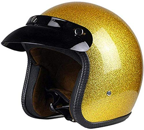 Casco Jet Medio Casco Retro Harley Casco de Motocicleta DOT / ECE Certificado Cruiser Chopper Pilot Casco Open Face Casco 3/4 Scooter Scooter Casco de Colisión Four Seasons Unisex,Gold-XL=(60~61cm)