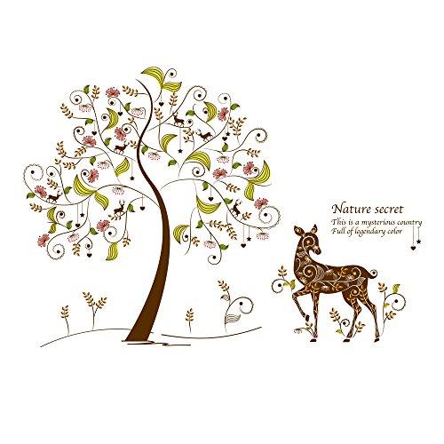 Winhappyhome Color Secret Tree Stickers Muraux pour Chambre à Coucher Salon Coffee Shop DéCal