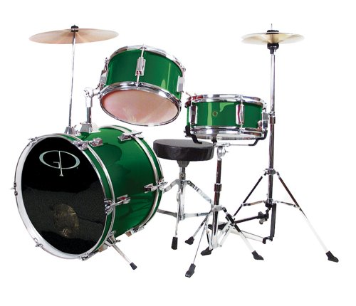 GP Percussion GP50G Complete Junior Drum Set (Green, 3-Piece Set)