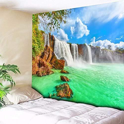 N/A Tapices 3D Impresión Tapiz Hippie de Pared con Estampado de montaña de Cascada psicodélica, Tela de poliéster, decoración del hogar, Alfombra de Pared, alfombras Colgantes, Manta de sofá Grande