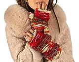 Warm Winter 100% Wool Fingerless Gloves Arm Warmers Hand Knit Crochet Pink Woman (Red Splash)