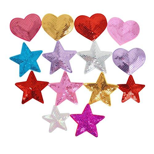 LAHAUTE 14er Applikation Stickerei Aufnäher Set Sternen Flicken zum Aufnähen Patches Hand DIY Zubehör für Kleidung Tasche