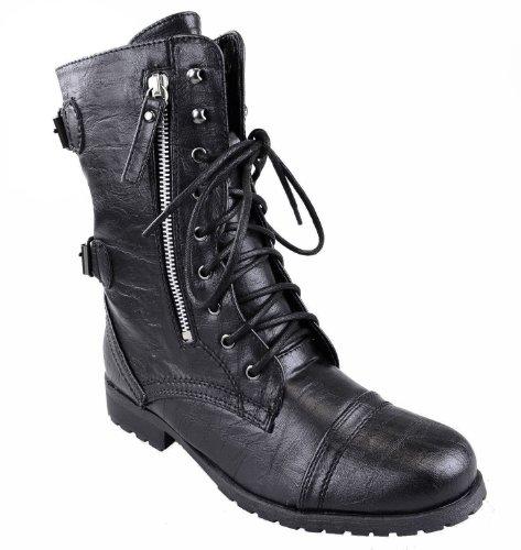 Fashion Thirsty Damen Armee Kampf Schnürer Reißverschluss Grunge Militär Biker Graben Punk Gothik Stiefeletten Schuhe Größe - Schwarz Kunstleder, 38