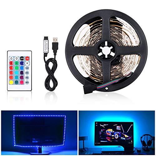 LED Tira de TV, Tiras LED Iluminación 5V 4m 120leds 5050 Tira de luz suave coloreada, colorido Luz de fondo de TV con 24 teclas de control remoto IR para Fondos de TV Luz Fiesta DIY Cocina