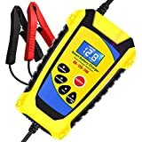 Lyeiaa Car Battery Charger, Battery Charger Maintainer 6A 12V Fully Automatic Battery Charger with LCD Screen, Maintain and Repair Batteries for Cars, Motorcycles, Boat and More