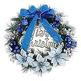 前面ドアウォールクリスマスツリーの装飾のためのベルボールちょうや手紙メリークリスマスとクリスマスリース飾り40CMガーランド装飾人工クリスマスリース クリスマスのドアの花輪 WUTONG (Color : Blue)