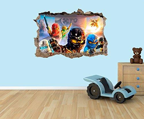 Ninjago 3D Effect Wall Window Sticker Decal Mural Bedroom NL1L2 (Large 62CM x 42CM)
