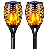 TomCare Solar Lights New Version Flickering Flame Solar Torches Lights Waterproof Outdoor Lighting Solar Powered Pathway Lights Landscape Decoration Lighting Auto On/Off for Garden Patio Yard