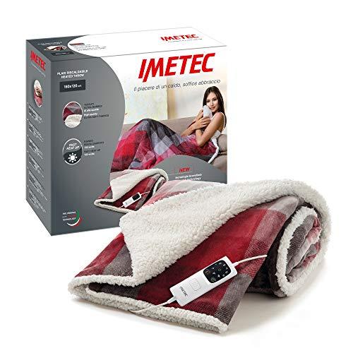 Imetec Adapto Velvet Plaid chauffant de 160 x 120cm, motif tartan, tissu au toucher velours et soyeux, technologie Adapto, dispositif de sécurité, réchauffement rapide, 6 températures, lavable