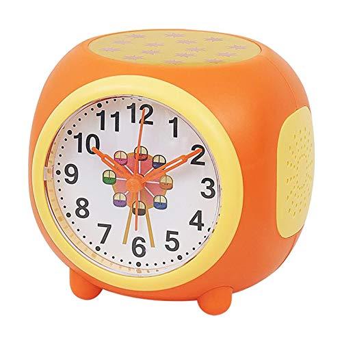 Prettyia Proyector de Estrellas Luces Nocturnas Reloj Despertador Lámpara de Proyección para Niños - Naranja, Individual