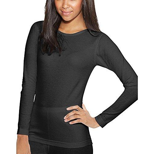 Champion Duofold Women's Tagless Thermals Base-Layer Shirt Black