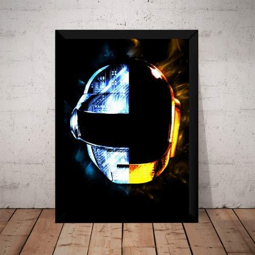 Quadro Daft Punk Capacete Arte Poster Com Moldura