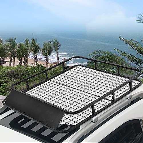 COSTWAY Universele dakrek lading mand, zwarte auto bovenaan bagage houder reizen met wind kuip 75 kg capaciteit 122 x 102 x 15 cm voor SUV vrachtwagen autos, eenvoudig te monteren