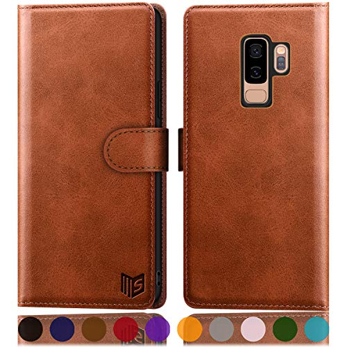 SUANPOT for Samsung Galaxy S9+ / S9 Plus 6.2 (Non S9 5.8') Leather Wallet case with RFID Blocking Credit Card Holder,PU Flip Folio Book Phone Cover Shockproof case Pocket for Men Women Light Brown