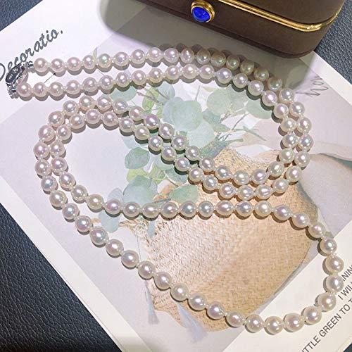 HANYF Sterling Silber Perlen Lange Multi-Chain-Modelle, 6,5-7Mm Durchmesser Süßwasser-Perlenkette Klassische Akoya 90Cm / Kleidung