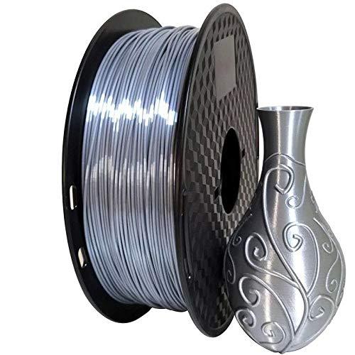 L-SHUNBAO LSB-3D Prints, 1pc Seda púrpura PLA filamento 1.75mm 500g 3D Impresora filamento Sedoso Brillo 3D Pluma Materiales de impresión Brillante Accesorios metálicos (Color : Silk Silver)