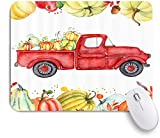 Benutzerdefiniertes Büro Mauspad,Herbst Bauernhaus Thanksgiving Retro Red Harvest Truck Auto mit...