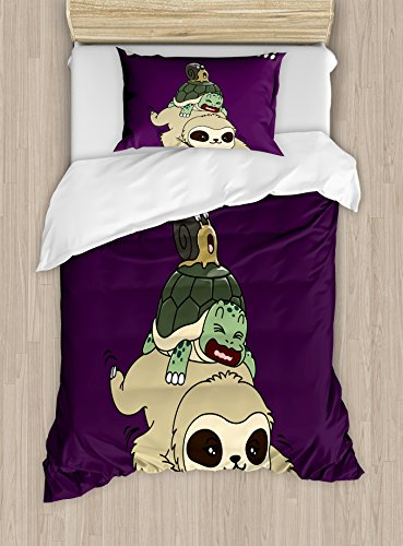 Ambesonne Sloth Duvet Cover Set, Funny Cartoon Scenery Animal Turtle Snail on Top of Each Other Slow Down Phrase, Decorative 2 Piece Bedding Set with 1 Pillow Sham, Twin Size, Purple