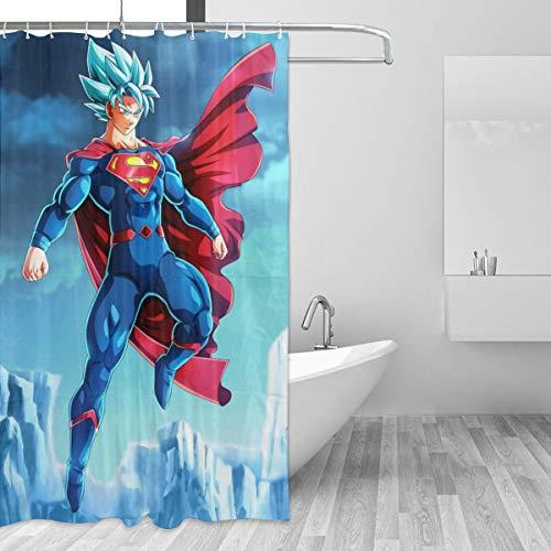 BLACKbiubiubiu Anime Dragon Ball Goku Superman 152 x 183 cm Bedruckter Duschvorhang, Badezimmer Wasserdichter Vorhang