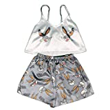 Animal Cartoon Print Cute Pijamas Home Set Summer V-Neck Sexy Pijamas Ladies Pijamas Sueltos