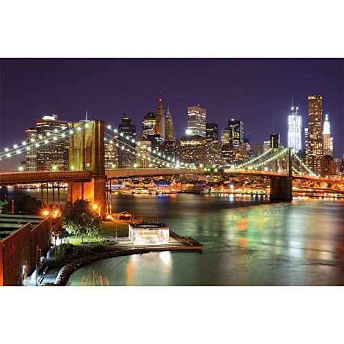 GREAT ART Fototapete – New York – Wandbild Dekoration Brooklyn Bridge bei Nacht leuchtende Wolkenkratzer Skyline Wall Street USA Deko Foto-Tapete Wandtapete Fotoposter Wanddeko (210x140 cm)