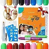 Pinturas Cara para Niños-GLAMADOR Kit de Pintura Faciales y Corporales-16 Colores,2 Tiza de Pelo,28...