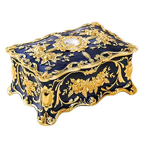 Caja de joyería de fantasía Aleación de zinc pendientes anillo de almacenamiento del estilo del color del esmalte de joyería Europea caja del tesoro epoxi Inicio del regalo de boda Decoración caja de