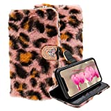 LCHDA Wallet Case for Samsung Galaxy S21 Ultra 6.8 Inch, Soft Faux Rabbit Fur Hair Cute Fluffy Warm Plush with Diamond Buckle & Card Slots Furry PU Leather Flip Stand Protective Cover - Leopard Pink