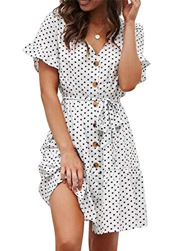 Minetom Sommerkleid Damen Kurzarm Elegant V-Ausschnitt Knopfleiste Polka Dot Kurze Strand Swing Freizeitkleider mi Gürtel C Weiß XL